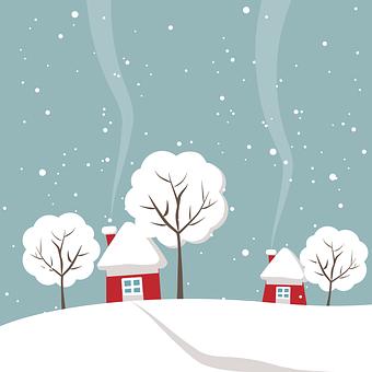 Wintry, Dom, Drzewo, Zima, Śnieg, White