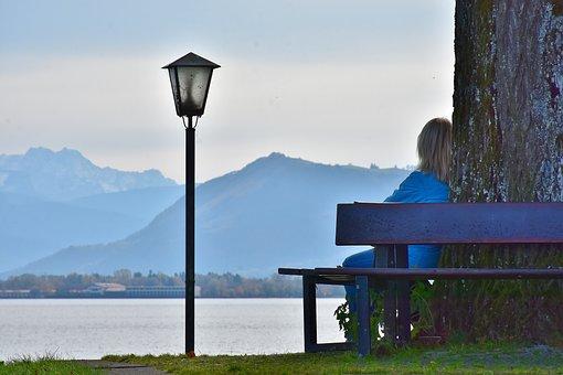 Mulher, Sentar Se, Panorama, Meditação
