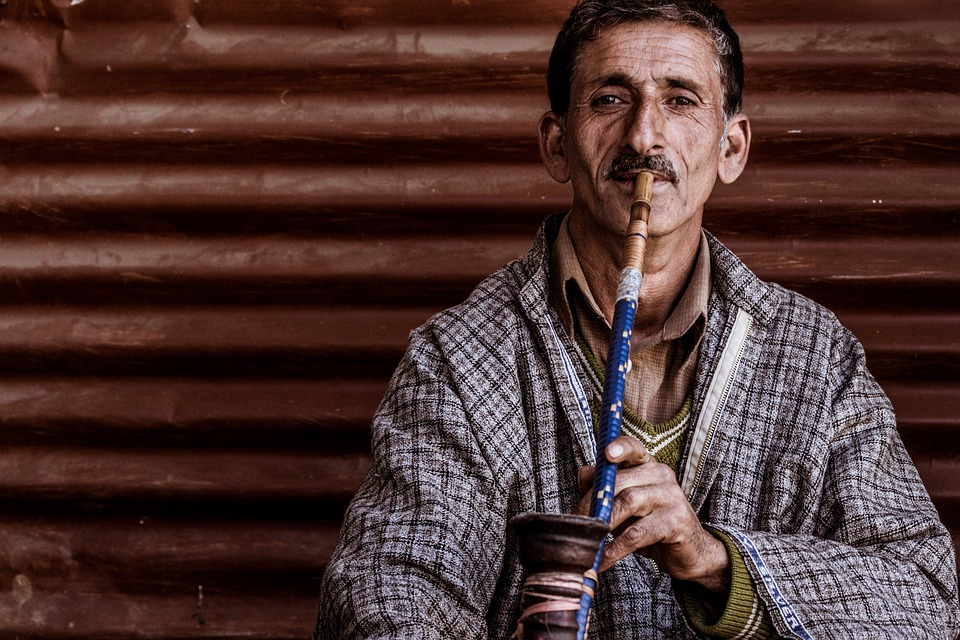 Portrait, Man, Man Smoking Hookah, Man Smoking, Kashmir