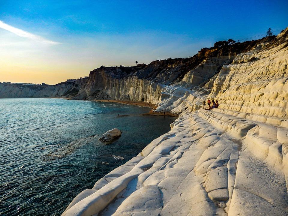 Fekvő, Természet, Cliff Fehér, Scala Dei Turchi, Beach
