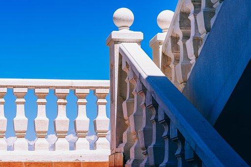 Architecture, Art, Banister, Blue