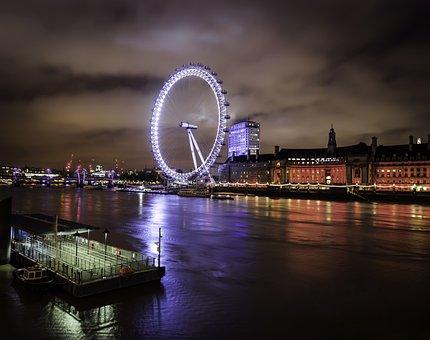 London, London Eye, Night, England