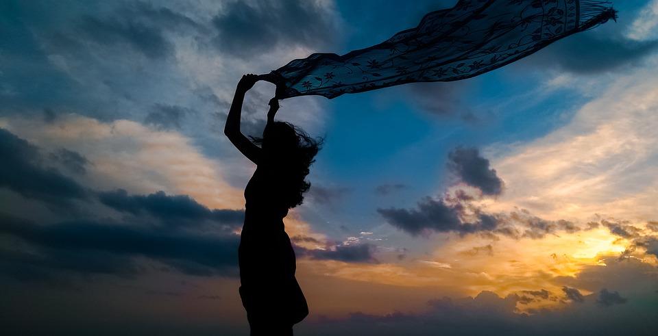 Silhouette, Sunset, Woman, Sky, Horizon, Clouds, Dusk