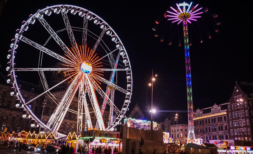 amsterdam ferris wheel night folk free photo on pixabay