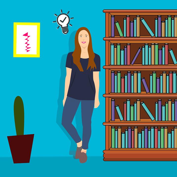 Library, Girl, Reading, Happy, Idea, Knowledge