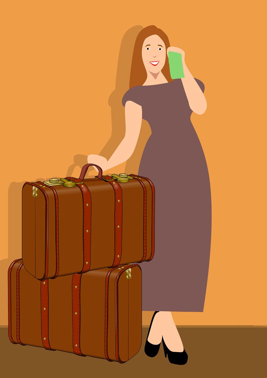 Картинки девушка с чемоданом прикольные