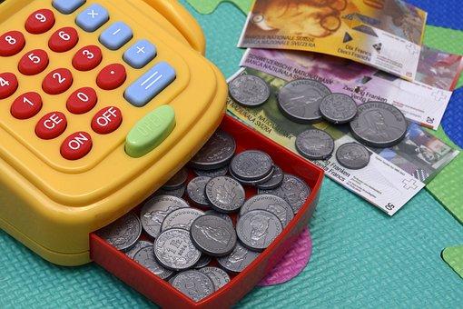 玩具キャッシュの登録, 再生, お金, プラスチック, キー, お支払い, 収集