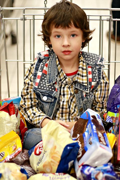 Familie, Einkaufszentrum, Kauf, Essen, Süßigkeiten