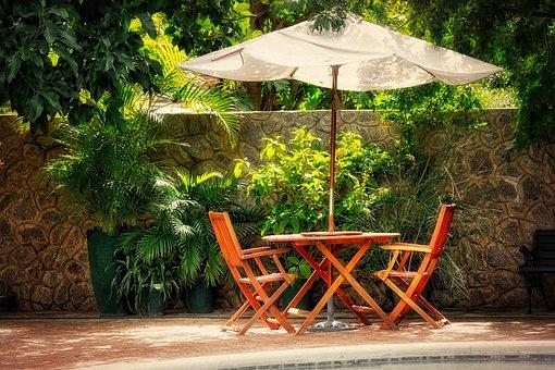 Schirm, Tisch, Stuhl, Sitzecke