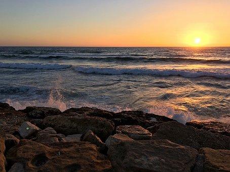Sonnenuntergang, Tel Aviv, Meer, Israel