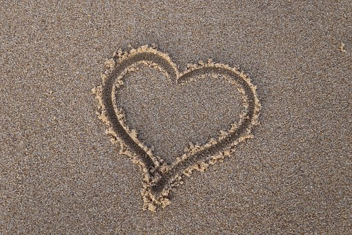 Srdce, Písek, Beach, Léto, Moře, Láska