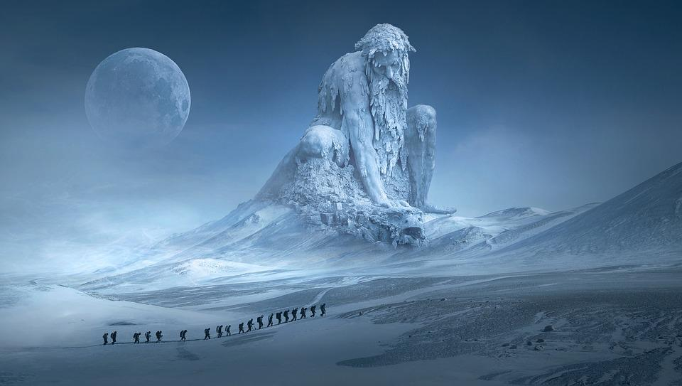 Fantasy, Wanderer, Sculpture, Monument, Ice, Cold, Snow