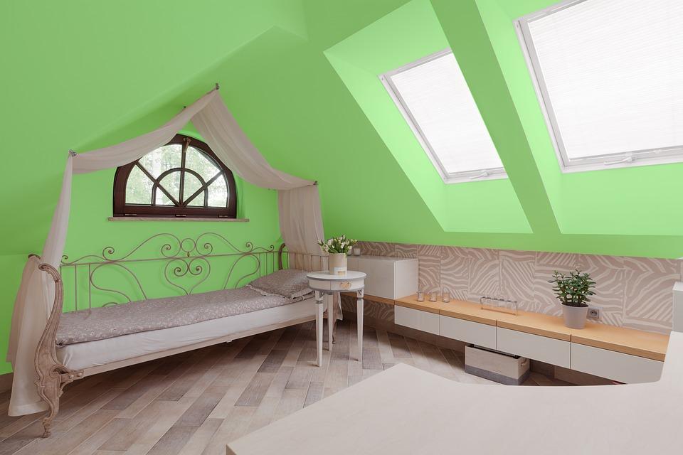 Vert, Chambre À Coucher, Maison, Lit, Appartement