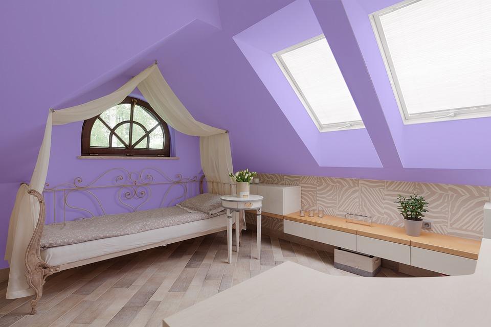 Виолетово, Стая, Легло, Интериор, Начало, Апартамент