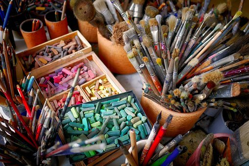 Brushes, Chalks, Colorful, Art Materials