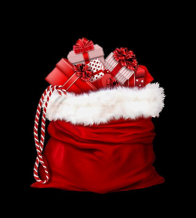 Santa Claus, Cadeaux, Rouge, Sac, Un Cadeau De Noël