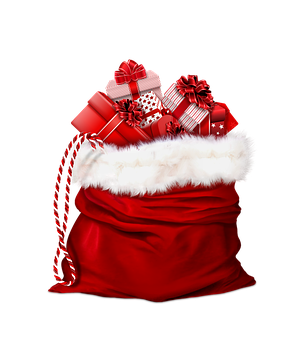 Santa Claus, Gifts, Red, Bag