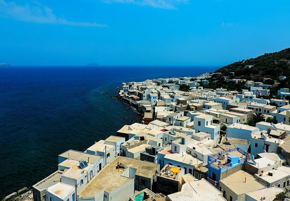 房子, 白色的房屋, 建筑物, 屋頂, 海, 藍色, 水域, 水, 島