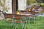 beer garden, chairs, dining tables