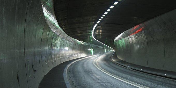 トンネル, 高速道路, ライト, トンネル ビジョン, 車を運転します
