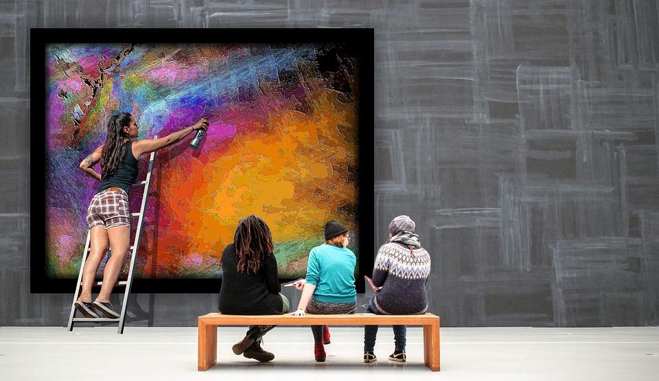 Gallery, Art, Artist, Abstract Art, Viewers