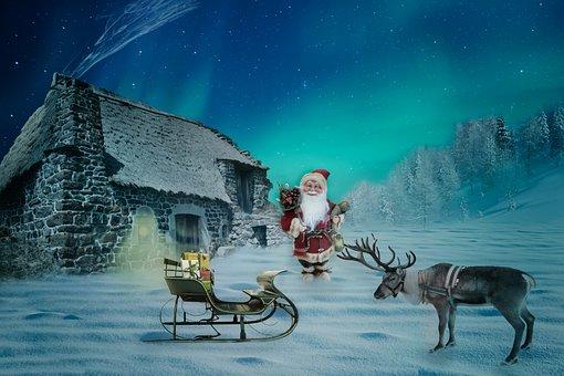 Noël, Motif De Noël, Santa Claus, Maison