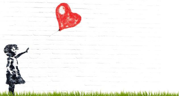 Menina, Balão, Criança, Coração