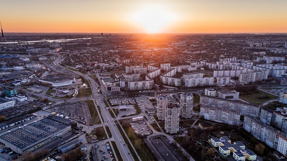 Riga Aerial View Latvia Drone City Urban