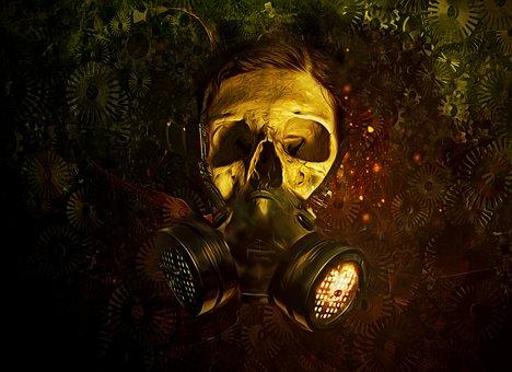 Gas Mask, Gas, Mask, Skull, Gears, Dark