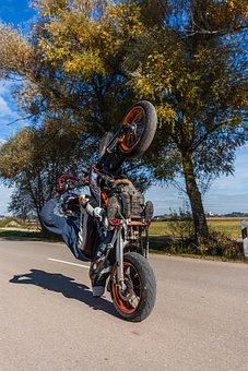 Motorcycle, Wheelie, Road, Sky, Field