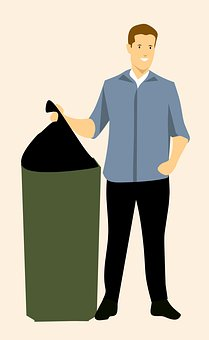 Garbage, Guy, Idea, Throwing, Man, Bin