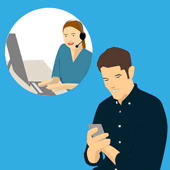 Drawing of a woman virtual assistant and a man texting for help to signify kyle's support for wealthy affiliate members