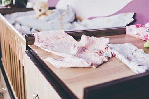 赤ちゃん, クマ, ベッド, 青, 変更, 子, 子供, 服, ベビーベッド
