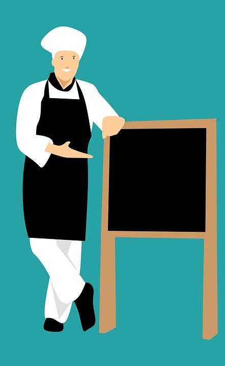 シェフ, アイデア, レストラン, 表示中, ホワイト, 立っている, 作業服, マーケティング, 男