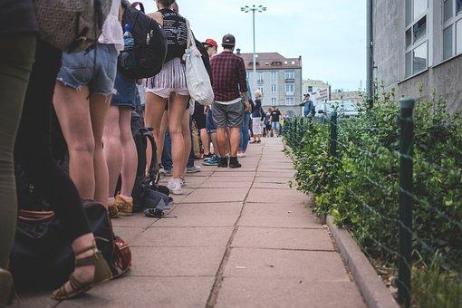 Menschen, Stadt, Menge, Gruppe, Linie