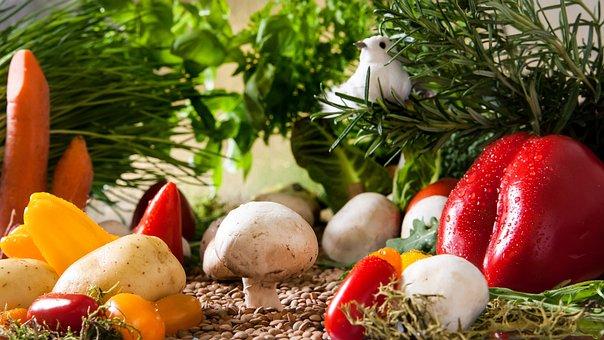 野菜の風景, 庭, 野菜, トマト, キノコ, パプリカ, 人参, タマネギ