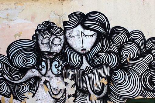 Graffiti, Athena, Hair, Woman, Man, Plan