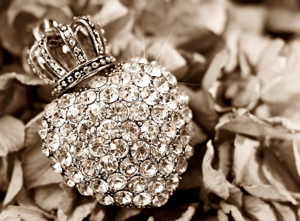 Serce, Korona, Hortensja, Kwiat, Rhinestone Serce