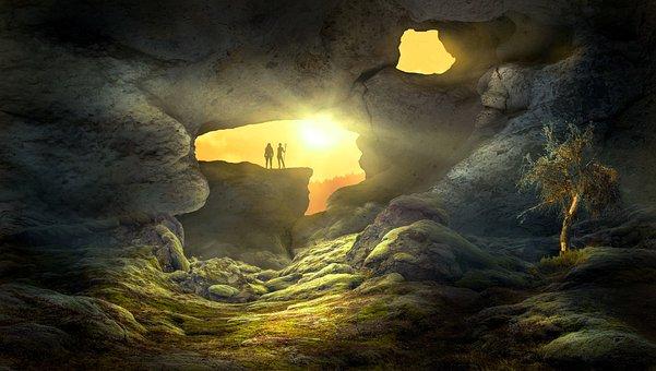 Fantasía, Paisaje, Cueva, Sun, La Luz