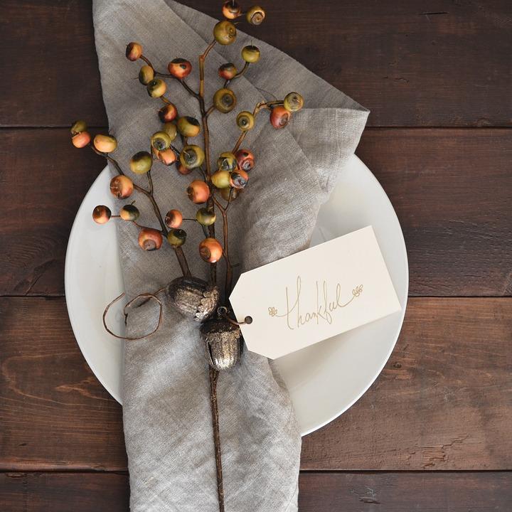 感謝しています, 上から, 感謝, 季節, 休日, 祝賀, テーブル, 木材, 感謝祭のテーブル
