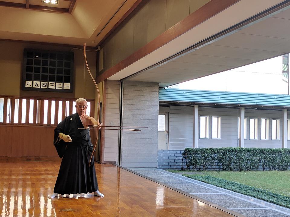 Bogenschießen, Japanisch, Pfeil, Bogen