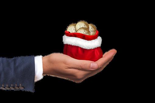 Soldi Di Natale, Denaro, Regalo, Mano