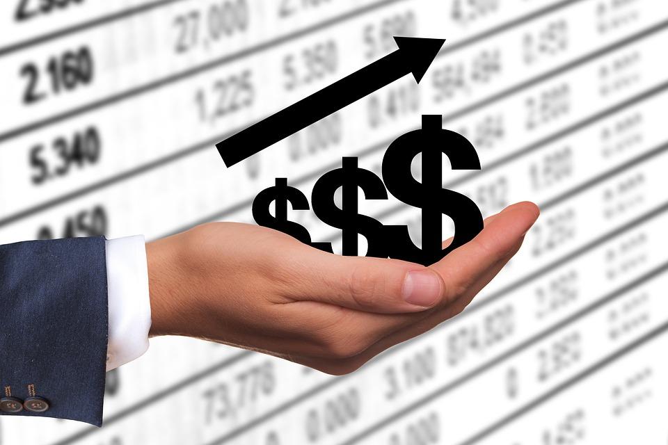 Dollar, お金, 利益, 収益, 成功, 上昇, 成功曲線, 手, 維持, 現在, プレゼンテーション