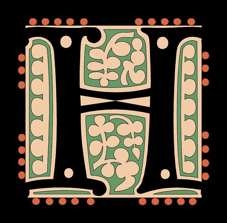 H Alphabet Vintage Letter Old Antique Calligraphy