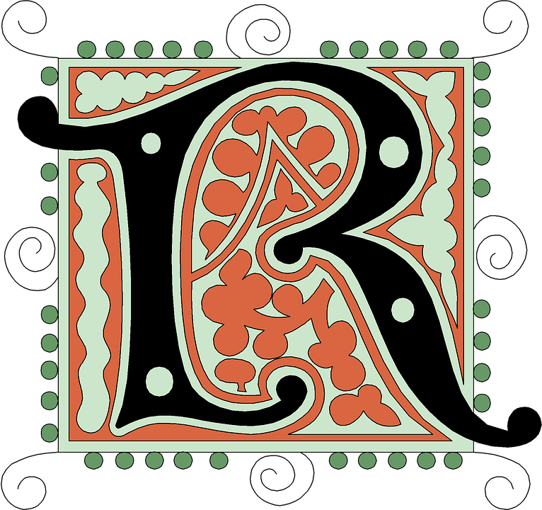 R Alphabet Vintage Letter Old Antique Calligraphy
