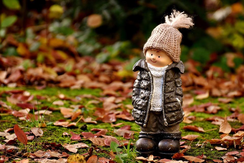 少年, フィギュア, デコ, フォレスト, 秋, 冷, キャップ, 秋を葉します, 装飾, 秋の動機, 子