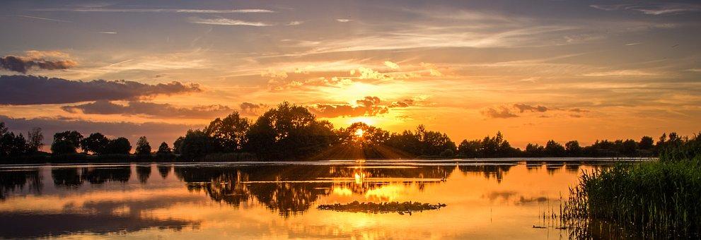 Západ Slunce, Jezero, Nebe