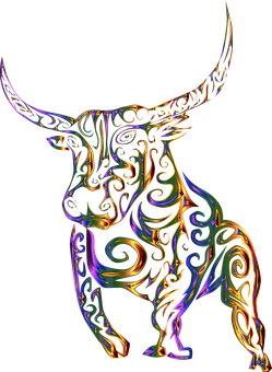 Tribal, Bull, Cow, Abstract, Line Art