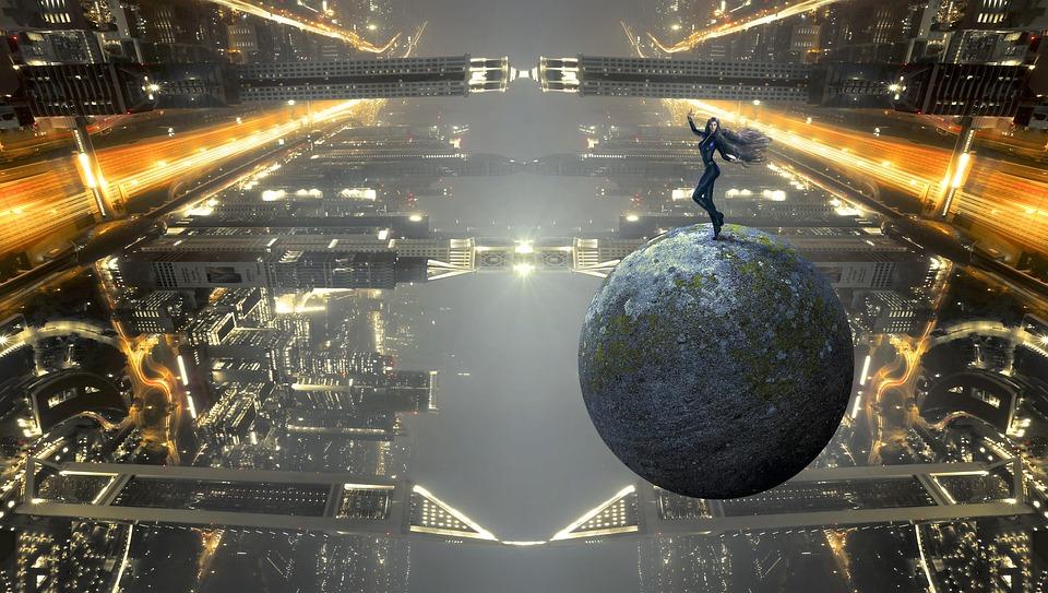 Fantasy, Framåt, Science Fiction, Byggnad, Stad, Ljus