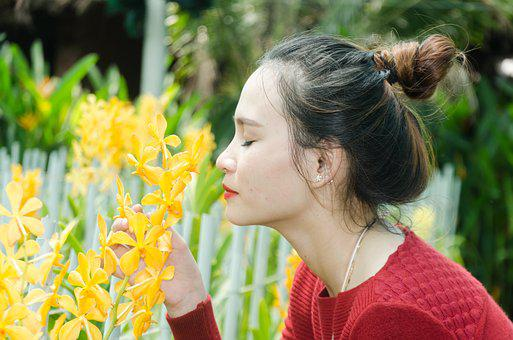 Girl, Orchids, Flower Care, Beautiful